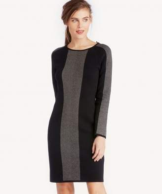 Sole Society Birdseye Jacquard Blocked Sweater Dress