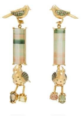 R & E Daniela Villegas - Do Re Mi Tourmaline, Sapphire & 18kt Gold Earrings - Womens - Green