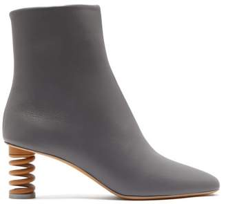 Gray Matters - Molla Spring Heel Leather Boots - Womens - Slate Grey Brown