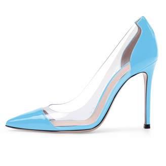 caf4d9dc62 Eldof Women's 100mm Pointed Toe Transparent High Heels Pumps Party Wedding  Dress Shoes US11