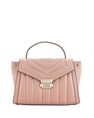 MICHAEL Michael Kors Whitney Medium Quilted Leather Satchel Bag - Rose Hardware