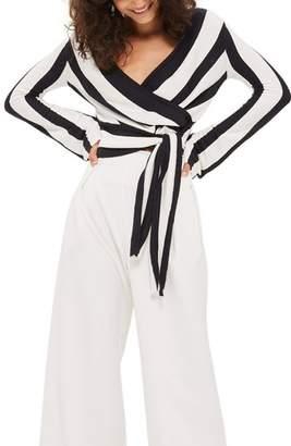 Topshop Stripe Knit Wrap Top