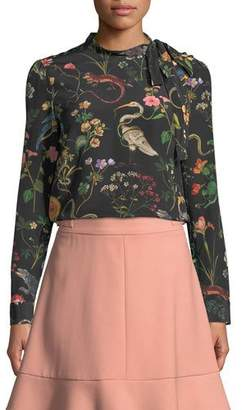 RED Valentino Flora-and-Fauna Print Long-Sleeve Blouse