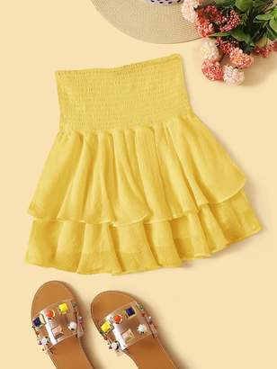 Shein Solid Layered Ruffle Hem Shirred Skirt