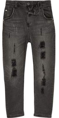 River Island Boys black Tony ripped tapered slouch jeans