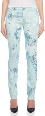Versace Blue Metallic Patterned Skinny Jeans