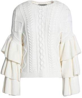 Valentino Tiered Wool Cable-Knit Sweater