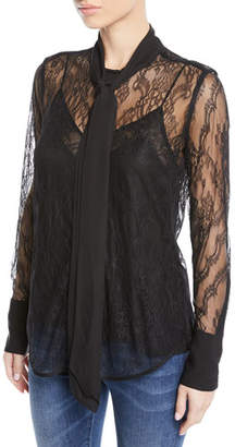 Equipment Luis Sheer Lace Tie-Neck Button-Front Blouse