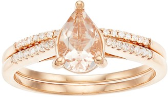 10k Rose Gold Pear Morganite 1/7 Carat Diamond Ring