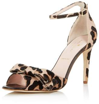 Kate Spade Women's Ismay Leopard Print Calf Hair High-Heel Bow Sandals