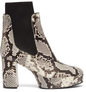Acne Studios Platform Python Effect Leather Chelsea Boots - Womens - White Black