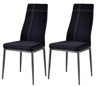 Pilaster Designs Bri Red Fabric & Metal Frame Modern Kitchen & Dining Side Chairs (Set Of Four)