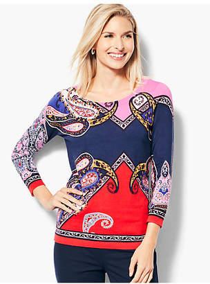 Talbots Paisley Scoop-Neck Sweater