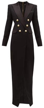 Balmain Tailored Slit Front Wool Crepe Gown - Womens - Black