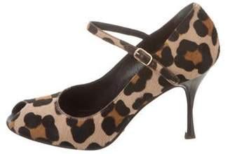 9603b71e41 Dolce & Gabbana Peep-Toe Leopard Print Mary Jane Pumps