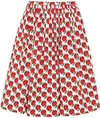 Prada Printed Stretch-denim Skirt - Red