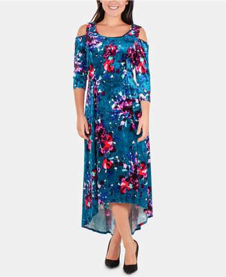 NY Collection Floral-Print Velvet Dress