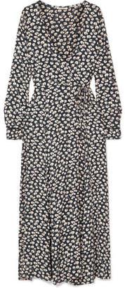 Ganni Roseburg Printed Crepe De Chine Wrap Dress - Navy