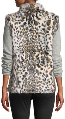 Neiman Marcus Leopard-Print Rabbit Fur Vest