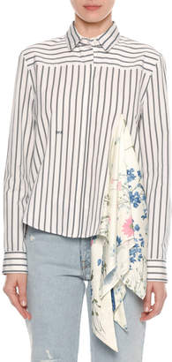 Off-White Off White Long-Sleeve Button-Down Striped Shirt with Foulard Scarf Inset