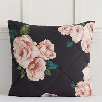 Pottery Barn Teen The Emily & Meritt Bed of Roses Sham, Euro, Black Floral