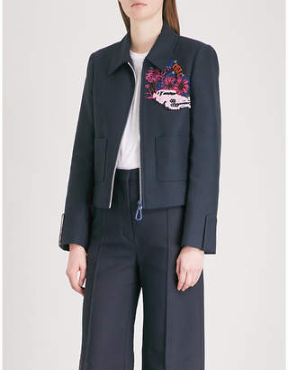 Sandro Floral and sequin-embellished cotton-blend jacket