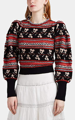 Ulla Johnson Women's Nona Fair Isle Crop Sweater - Black
