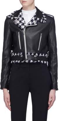 Oscar de la Renta Houndstooth check tweed panel leather biker jacket