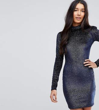 Glamorous Tall High Neck Bodycon Dress In Glitter Velvet