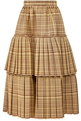 Gucci Tiered Checked Wool Blend Midi Skirt - Womens - Brown Multi
