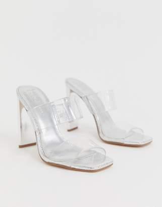 clear ASOS DESIGN Hayward block heeled mule
