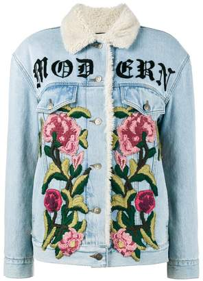 Gucci embroidered shearling denim jacket