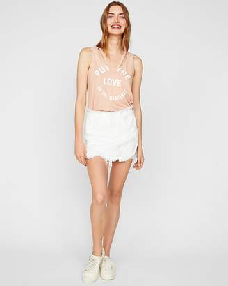 Express One Eleven Love In The Coconuts V-Neck Cut-Out Tank