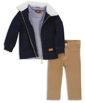 7 For All Mankind Boys' Sherpa-Trimmed Denim Jacket, Tee & Twill Pants Set - Baby