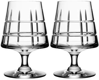 "Orrefors Handcut Grid Patterned Crystal Cognac Glasses ""Street"" (Set of 2)"