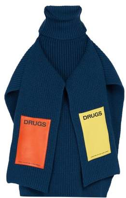 Raf Simons Sweater Inspired Appliqué Patch Wool Scarf - Mens - Blue