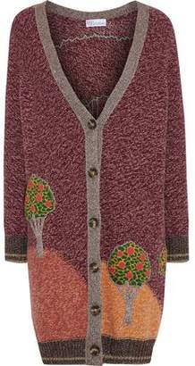 RED Valentino Appliqued Marled Wool-blend Cardigan