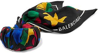 Balenciaga Printed Silk-twill Bracelet - Black