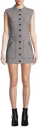 Veronica Beard Leigh Houndstooth Button-Front Mini Dress