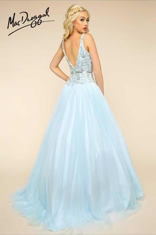 Mac Duggal Ballgowns - 65705 V Neck Gown In Aqua