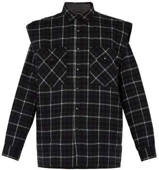Balenciaga Padded Denim And Flannel Overshirt - Mens - Black