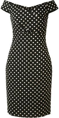 Nicole Miller off-shoulder polka dot dress $440 thestylecure.com