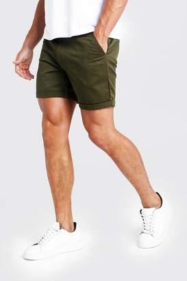 boohoo Mid Length Slim Fit Chino Short In Khaki