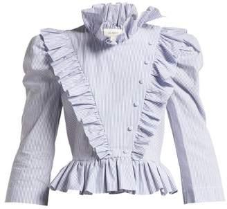 Isa Arfen Edith Striped Ruffle Trimmed Blouse - Womens - Blue White