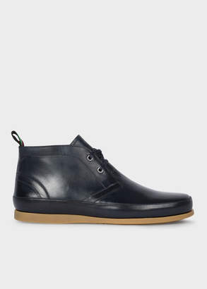 Paul Smith Men's Dark Navy Leather 'Cleon' Boots