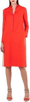 Akris Polo-Style Long-Sleeve Cotton Voile Tunic Dress