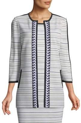Misook Neutral Striped Topper Jacket, Plus Size