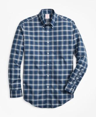 Brooks Brothers Non-Iron Madison Fit Herringbone Plaid Sport Shirt