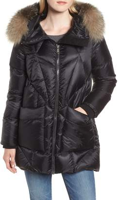 Andrew Marc Genuine Fox Fur Trim Quilted Down Coat