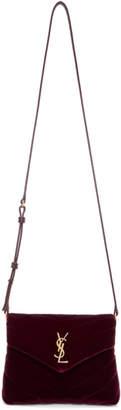 Saint Laurent Burgundy Velvet Toy Loulou Shoulder Bag